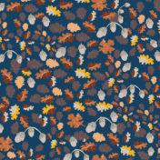 autumn leaves, surface pattern, acorns, orange, blue, yellow, gold