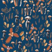 mushrooms, pattern, foliage, autumn, surface pattern