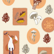 Autumn, stickers, autumn icons, fox, mushroom, fox, neutral pallette