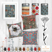 pattern collection, cushion, tins, bees, insects, nature