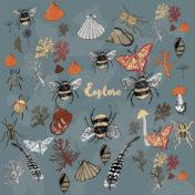 bee, go explore, outside, nature illustration, foliage, surface pattern,