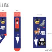 london, london icons, licensing, sock designs, corgi, postbox, pigeon