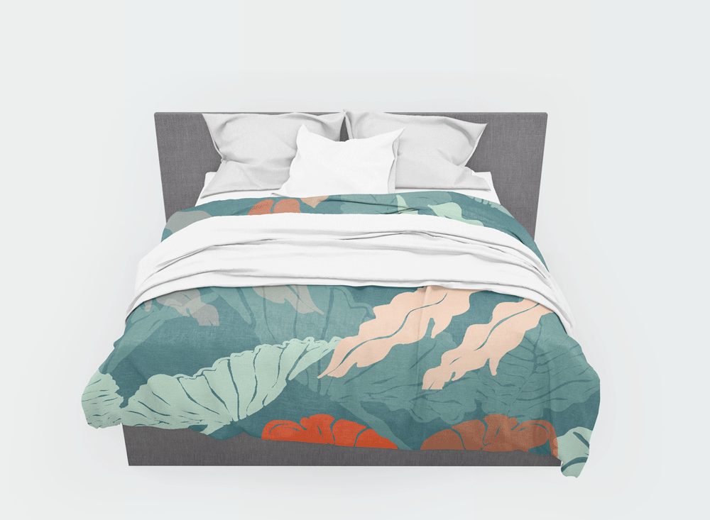 bed spread, tropical leaves, eden, pattern