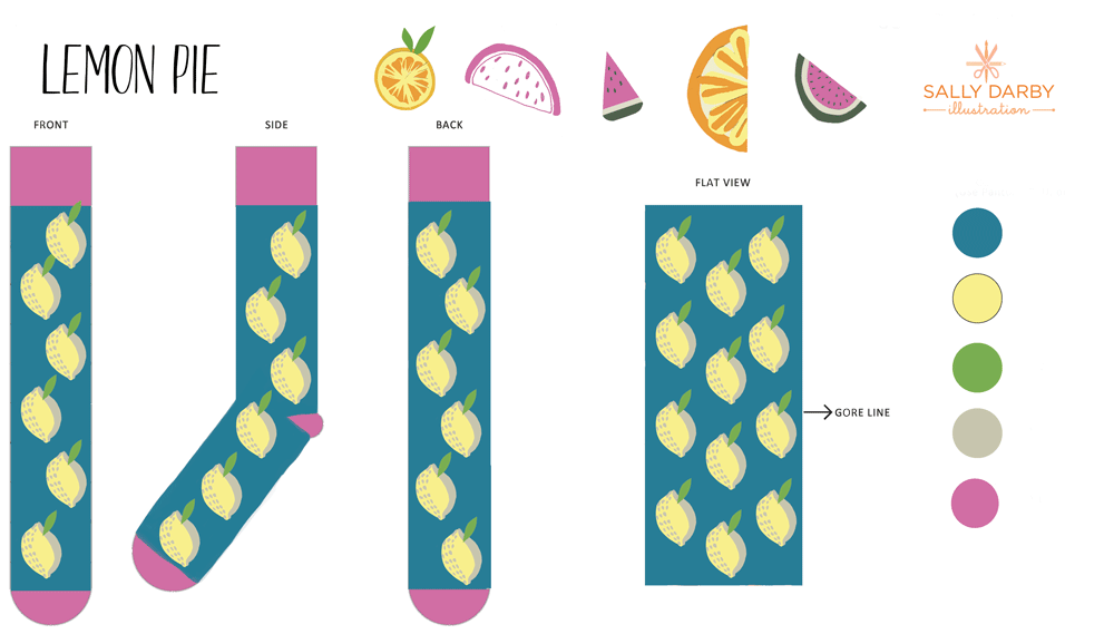 lemon, conversational, socks, design
