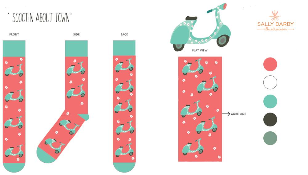 scooter, socks, conversational print, licensing