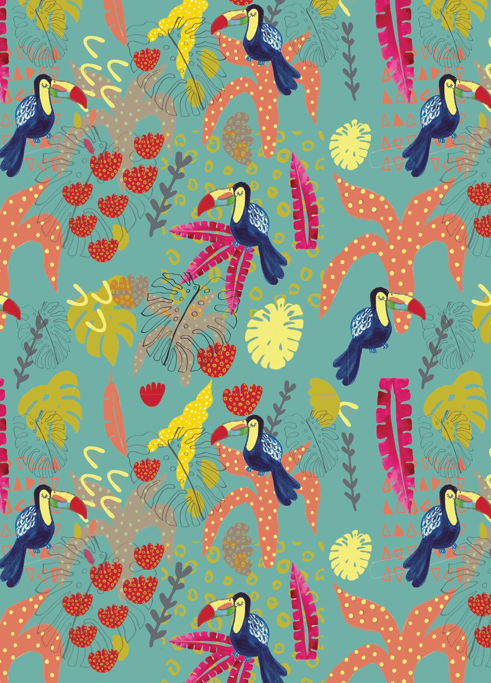 toucan, repeat pattern, giftwrap