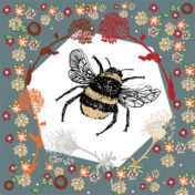 bee, flowers, placement print, design, illustration