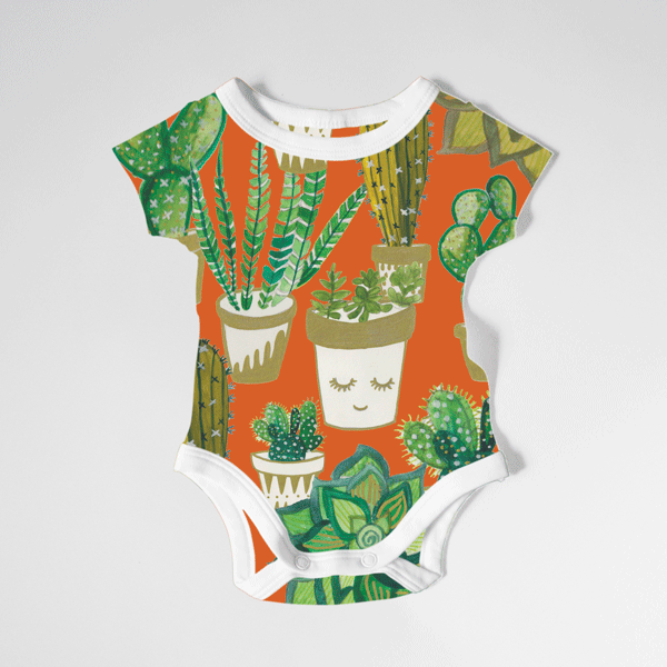 cactus, icons, cactus print, plants, nature, baby grow, character design