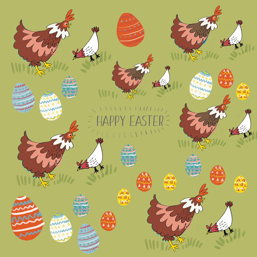 chicken, easter, greetings card