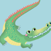 crocodile, character design, kids character, graphics,