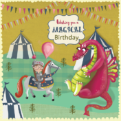 dragon, knight, birthday card, kids birthday, magical, character design