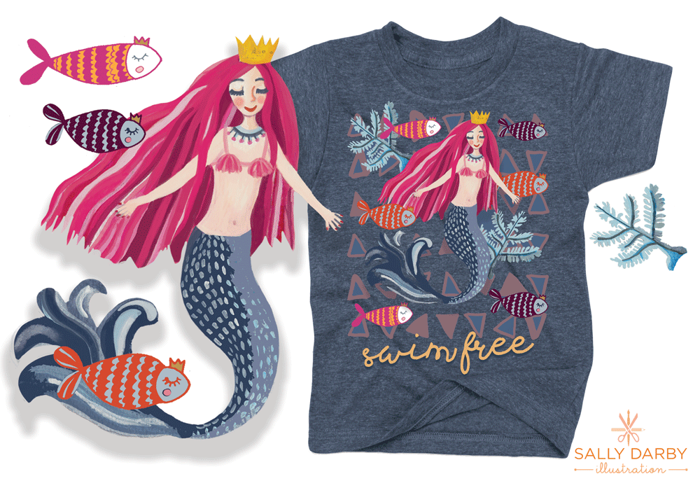 mermaid, character, t-shirt, kidscharacter, fish, placement print