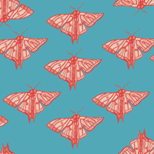 moths, conversational print, licensing, pink, red, blue