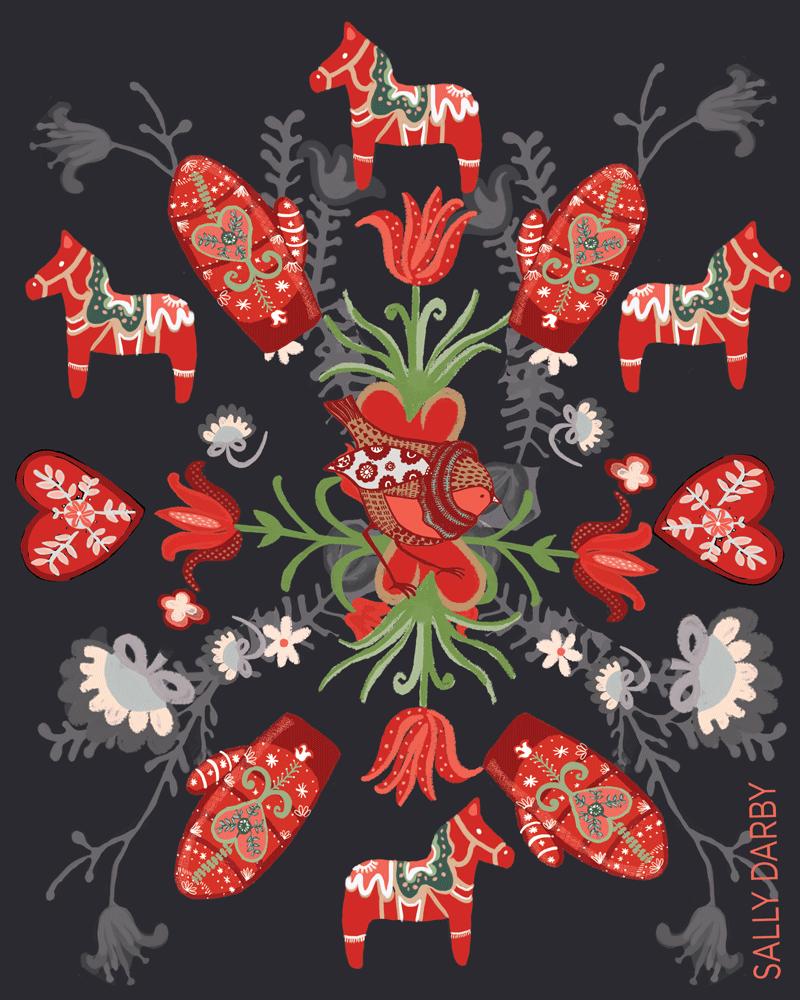 hygge, robin, christmas, card, pattern, licensing