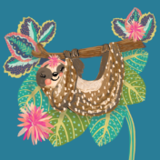sloth, placement print, kids characters, clothing, tropical