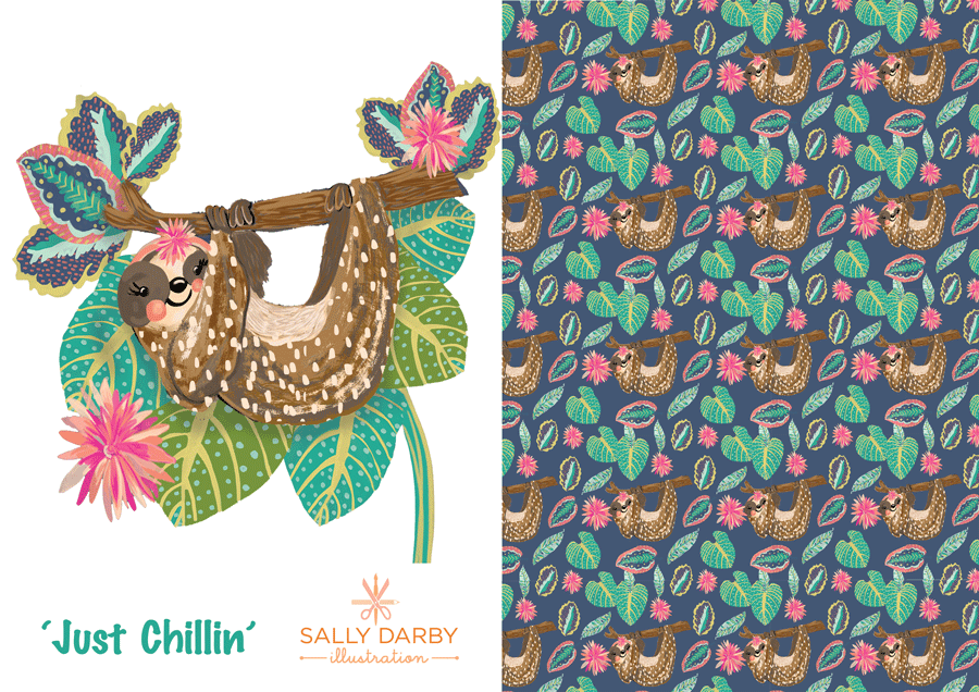sloth, pattern design, conversational print, kids design