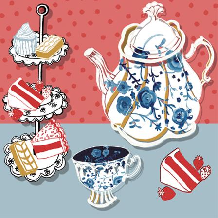greetings card,afternoon tea