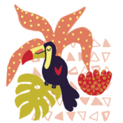 toucan, tropical, placement print, kids design