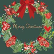 wreath, christmas, greetings card