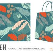 leaves, eden, tropical leaves, giftwear, pattern