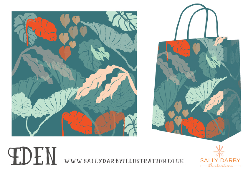 eden, tropical leaves, giftwear, pattern design, leaves