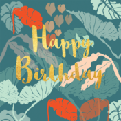 happy birthday, greetings card, stationery, tropical, leaves