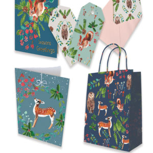 enchanted forest, licensing, christmas, deer, owl, squirrel, card, pattern