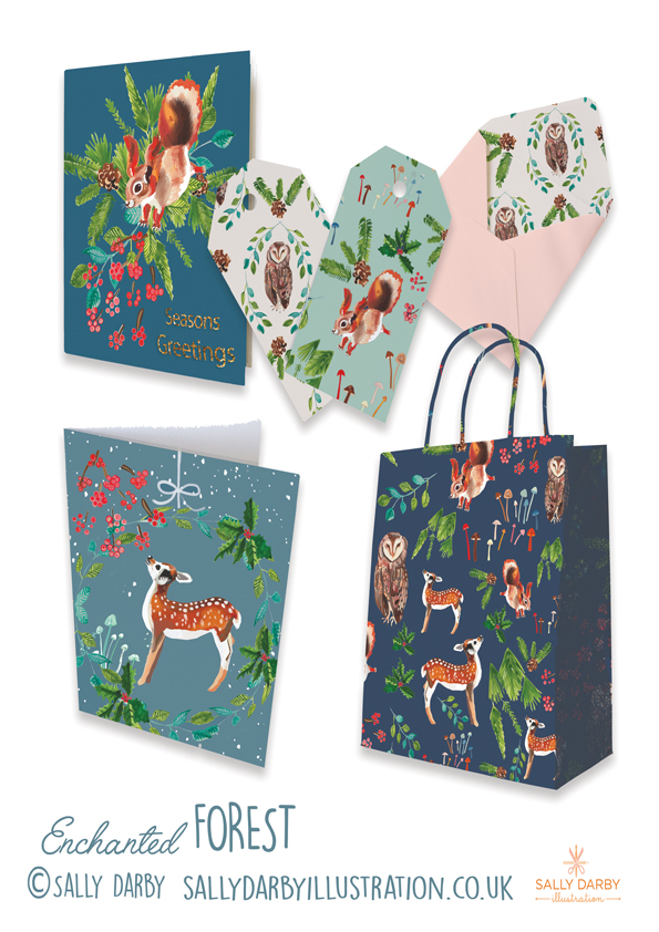 enchanted forest, christmas, deer, owl, squirrel, card, pattern, licensing