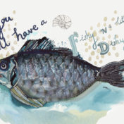fish, painting, seafood, watercolour