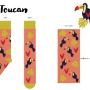 toucan, conversational print, tropical, socks, licensing