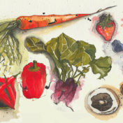 carrot, vegetable painting, pepper, beetroot, mushrooms