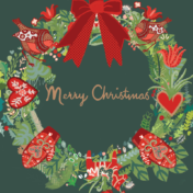 wreath, christmas, greetings card