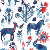 blue safari, zebra, gazelle, elephant, safari, pattern, licensing