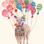 balloons, celebrate, camel, llama, traveller pattern
