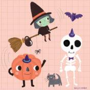 skeleton, witch, bat, pumpkin, halloween,
