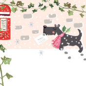 scottie dog, post, christmas, letter