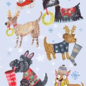 christmas, dog, stockings, characters