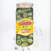 olive, jar, olivesandgarlic, theydrawandcook, foodillustration, editorial, foodmagazine, recipies