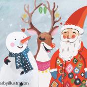 santa, snowman, rudolf, christmas