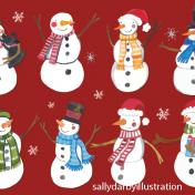 snowmen, christmas, jolly, greetings card
