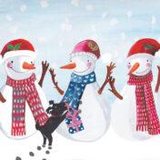 snowmen, dog, christmas card, greetings card