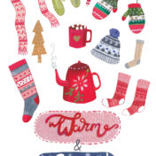 warm, cosy, christmas, teapot, scarf, gloves, pattern