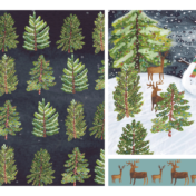 trees, snowman, trees, surface pattern