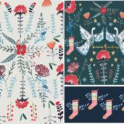 seasons greetings, swan, pattern, stockings