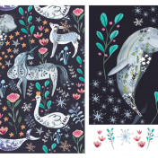 artic animals, pattern, unicorn, swan, dolphin, christmas