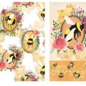 bee pattern, floral pattern, bee, flowers