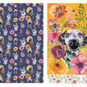 dog, florals, surface pattern