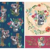 koala, pattern, flowers,