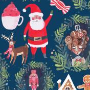 nutcracker, santa,christmas pattern, surface pattern design, christmas