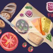 food, they draw and cook, food illustrator, cheese, wine, editorial, cheeseboard
